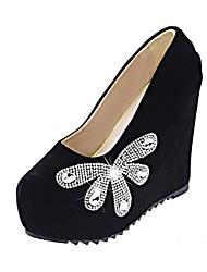женская обувь Круглый носок платформы пятки клина насосов ботинок