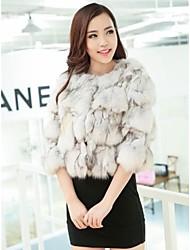 chaqueta corta de piel de abrigos de piel de las mujeres cabeza de zorro (más color)