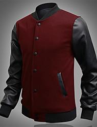HUIZI Men's Fashion Korea Style Slim Splice Coat