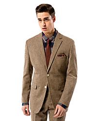 sólido marrón traje de corte sartorial de lana