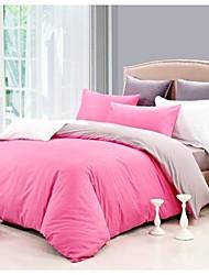 cubierta sensleep 4 pieza estilo de vida sencillo rosa edredón de algodón 100 establece el tamaño completo de la reina