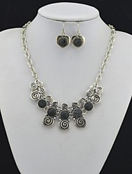 Toonykelly Vintage Look Heart Lava Rock Volcano Stone(Earring and Necklace) Jewelry Set