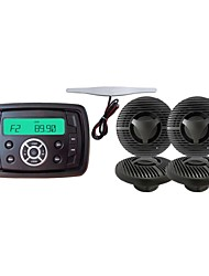 Waterproof Marine Radio Stereo ATV UTV Audio Receiver+ 5.5 Inch Black Waterproof Speakers+Radio Antenna