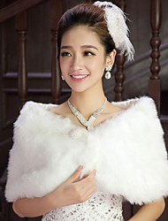 Wedding  Wraps / Fur Wraps Shrugs Sleeveless Cotton White Wedding / Party/Evening Feathers / fur / Pearls / Scales Hidden Clasp