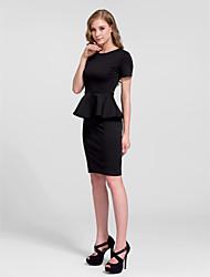 Cocktail Party Dress - White/Black Sheath/Column Jewel Knee-length Cotton