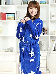 Bath Robe, High-class Blue Star Garment Bathrobe Thicken