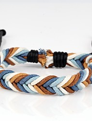 mode gevlochten armband eenvoudig en comfortabel blauw wit bruin (1 stuk)