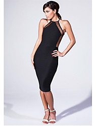 Women's Solid Black Dress , Bodycon/Plus Sizes Strap Sleeveless