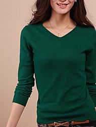 Frauen reine Nerz Wolle V-Shirt Pullover