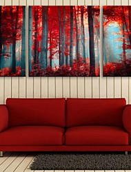 E-HOME® Stretched Canvas Art Red Wood Decorative Painting Set of 3