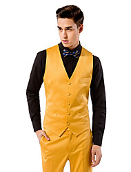 Yellow Solid Tailored Fit Vest In Polyester