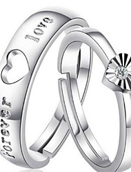 Ring Men's / Couples' / Ladies' Crystal Silver Silver 7 Silver