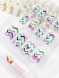 12 Pcs  Multicolor Wave  Design Nail Art Tips With Glue