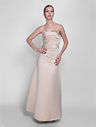 Floor-length Strapless Bridesmaid Dress - Lace-up Sleeveless Satin