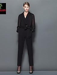 Women's Black Jumpsuits , Casual Long Sleeve