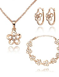 Z&X® European Style 18K Gold Plated Flowers Necklace Earrings And Bracelets Jewelry Set (1 set)