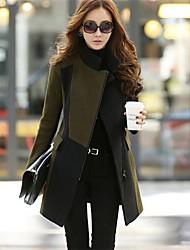 Women's Patchwork Army Green Trend Coat,Stylish Long Sleeve Wool Blends/Nylon Zipper
