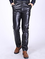 Men's Winter Flocking Straight Keeping Warm Loose Leather Pants