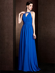 Court Train Chiffon / Stretch Satin Bridesmaid Dress - Royal Blue Plus Sizes / Petite Sheath/Column Jewel