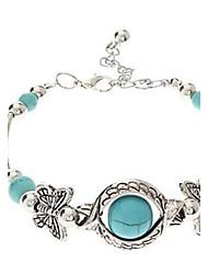 lureme® pulseira de borboleta azul-turquesa estilo boémio do vintage