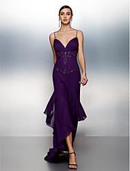 Formal Evening Dress - Grape Plus Sizes / Petite Sheath/Column Spaghetti Straps Asymmetrical Chiffon
