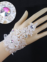Knit Lace Wrist Length Fingerless Wedding Gloves with Rhinestone  ASG44