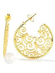 18k banhado a ouro filigrana brincos de argola redondas para mulheres