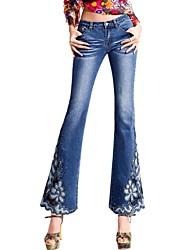 mj®: 2014 estilo nacional prego talão bordados bordado sexy skinny de jeans calças de brim das culturas das mulheres