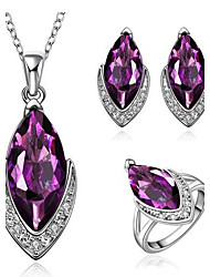 Women's Classical Purple Zircon Jewellery Set (Set of 3)
