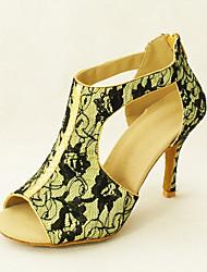 Customizable Women's Dance Shoes Latin/Ballroom Lace Stiletto Heel Red/White