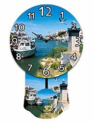 ronde en bois modèle de yacht mordern horloge murale