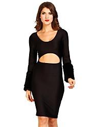 2014 New Fashion Knee-Length Long Sleeve Hollow Out Women Black Club Wear Dress KM044