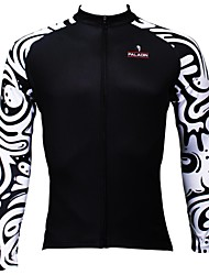 PaladinSport Men's  Summer and Autumn Style 100% Polyester Black Wave Long Sleeved Cycling Jersey