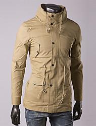 ouer gola casuais casaco de manga comprida masculina