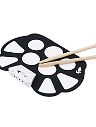 portátil 9 tambor pad kit de batería del roll-up de alta calidad de color material blanco con palo