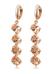 goutte d'alliage cristaux de zircon en forme de chapelet de mode boucle d'oreille des femmes (1 paire)