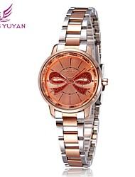 Skone ® redonda de acero de línea de cuarzo reloj de pulsera de reloj de las mujeres
