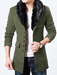 Men's Solid Casual Trench coat,Cotton / Tweed Long Sleeve-Black / Blue / Brown / Green / Red / Gray / Tan