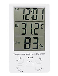 Digital LCD Hygrometer Thermometer with Clock WALVICO TA308(without Probe)