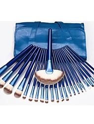 venta caliente de maquillaje profesional del sistema de cepillo con 24pcs cepillos azules y bolso azul