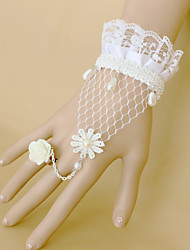 Fashion White Rose Lace Pearl Bracelet Ring Set
