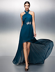 Formal Evening Dress - Plus Size / Petite Sheath/Column Halter Asymmetrical Chiffon