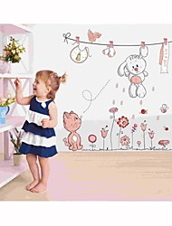 Wall Stickers Wall Decals, Style Cartoon Of Clothesline The Little White Rabbit  PVC Wall Stickers