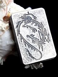 Personalized Engraving Dragon Pattern Antique Silver Metal Electronic Lighter