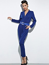 Women's Blue Jumpsuits , Casual Long Sleeve