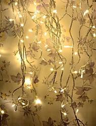 8 modes 10m 100 LED de conte de chaîne vacances chaleureuse lumière blanche mariage de fête de noël (blanc chaud avec la queue prise)