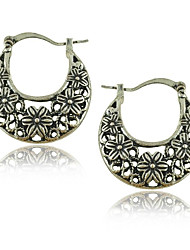 Wholesale Vintage 30mm Hoop Earrings Tibetan Silver Caving Flower Earrings