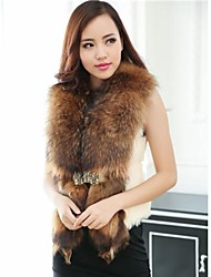 Fur Coats Women's Rabbit Raccoon Fur Vest (More Color)