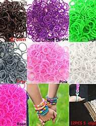 600PCS Pure Color DIY Twistz Silicone Rubber Bands for Rainbow Loom Bracelets with S-clips(Assorted Color)