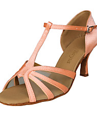 Non Customizable Women's Dance Shoes Latin/Ballroom Satin Chunky Heel Pink